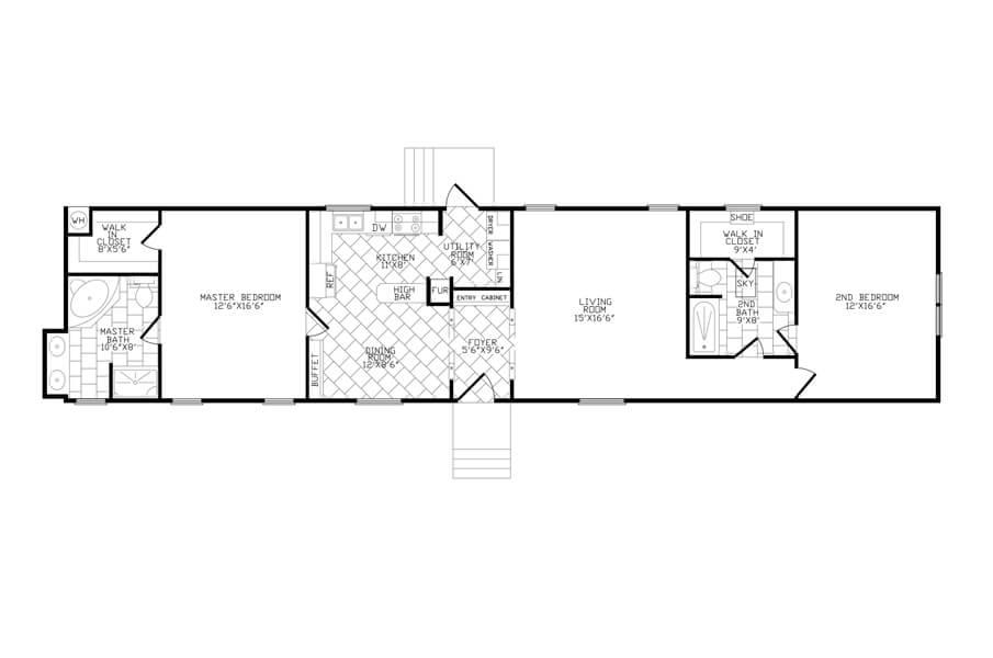 Solitaire Homes Single Wide Floor Plan Model 218
