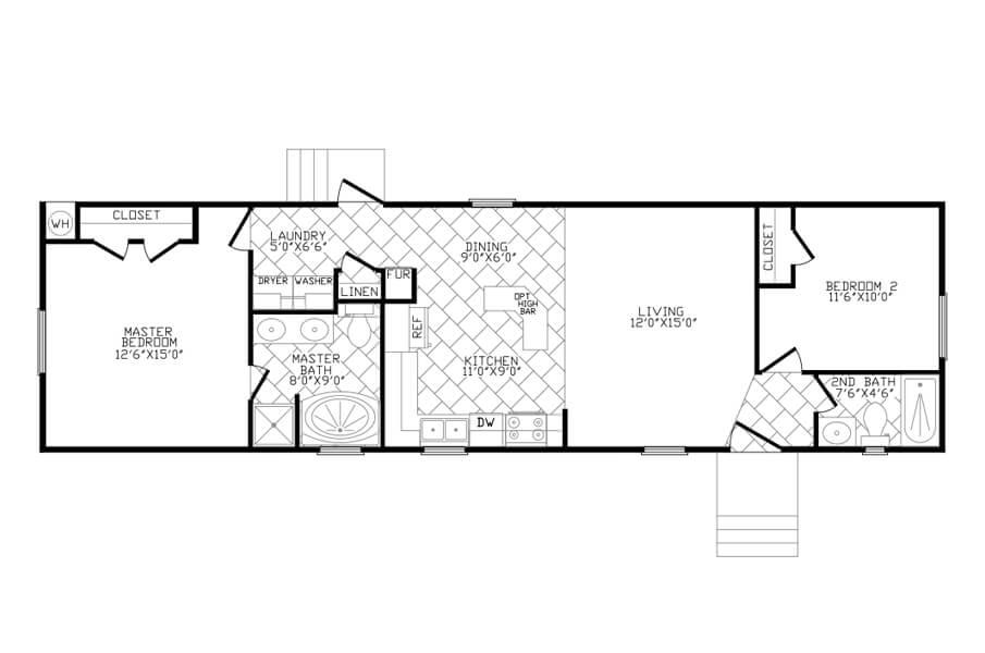 Solitaire Homes Single Wide Floor Plan Model 260