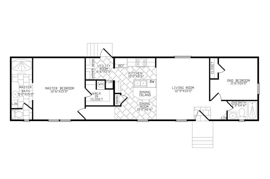 Solitaire Homes Single Wide Floor Plan Model 264