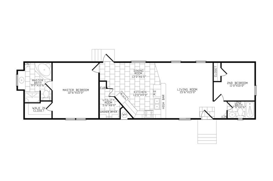 Solitaire Homes Single Wide Floor Plan Model 266