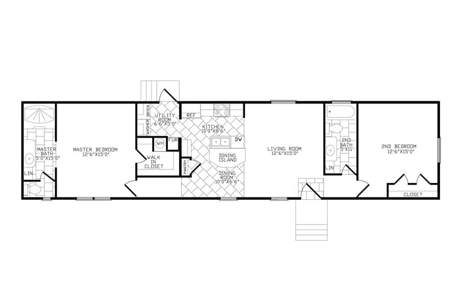 Solitaire Homes Single Wide Floor Plan Model 270