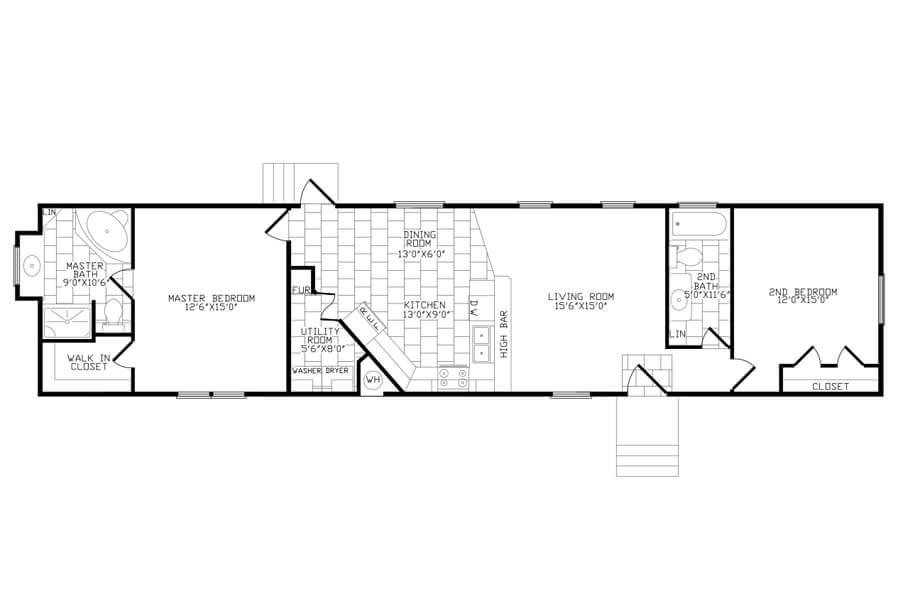Solitaire Homes Single Wide Floor Plan Model 272