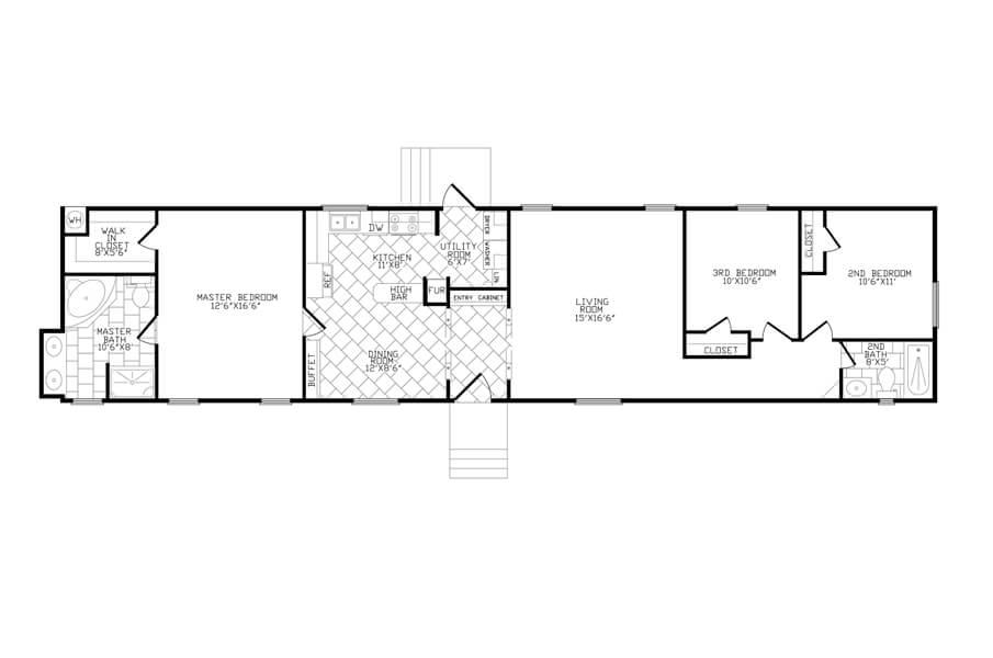 Solitaire Homes Single Wide Floor Plan Model 318