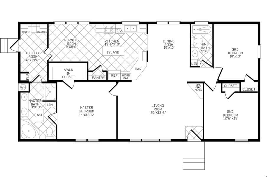 Solitaire Homes Double Wide Floor Plan Model 360