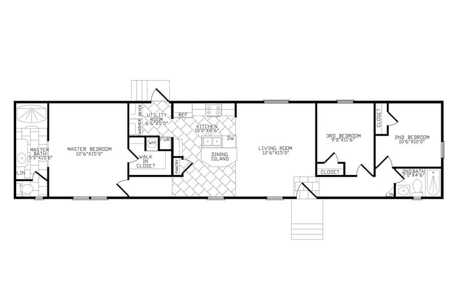 Solitaire Homes Single Wide Floor Plan Model 372