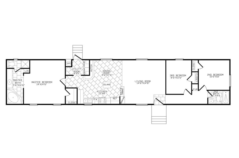 Solitaire Homes Single Wide Floor Plan Model 380