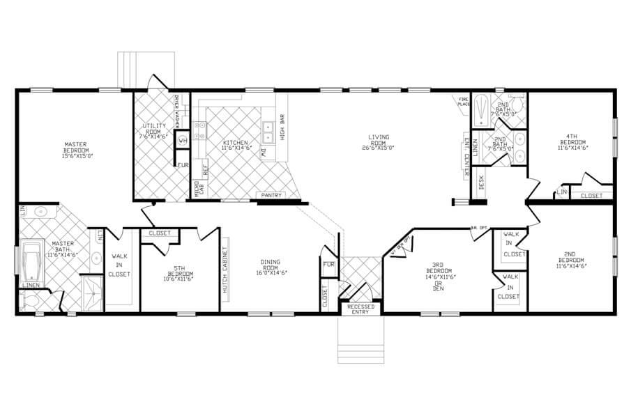 Solitaire Homes Double Wide Floor Plan Model 485