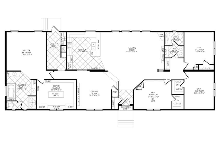 Solitaire Homes Double Wide Floor Plan Model 486sc