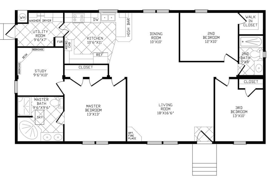 Solitaire Homes Double Wide Floor Plan Model 856 BR