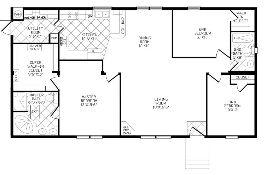 Solitaire Homes Double Wide Floor Plan Model 856SC