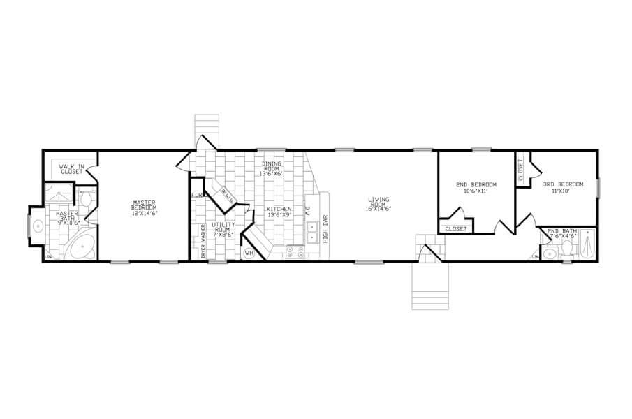 Solitaire Homes Single Wide Floor Plan Model AC 80