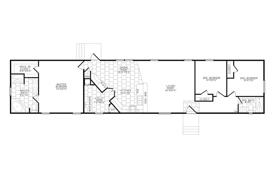 Solitaire Homes Single Wide Floor Plan Model ACK 384