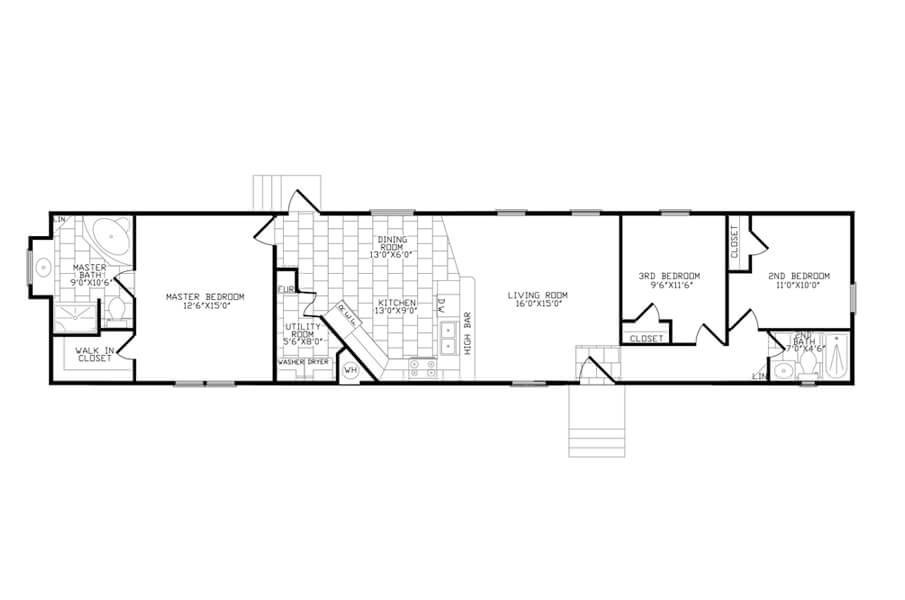 Solitaire Homes Single Wide Floor Plan Model 376