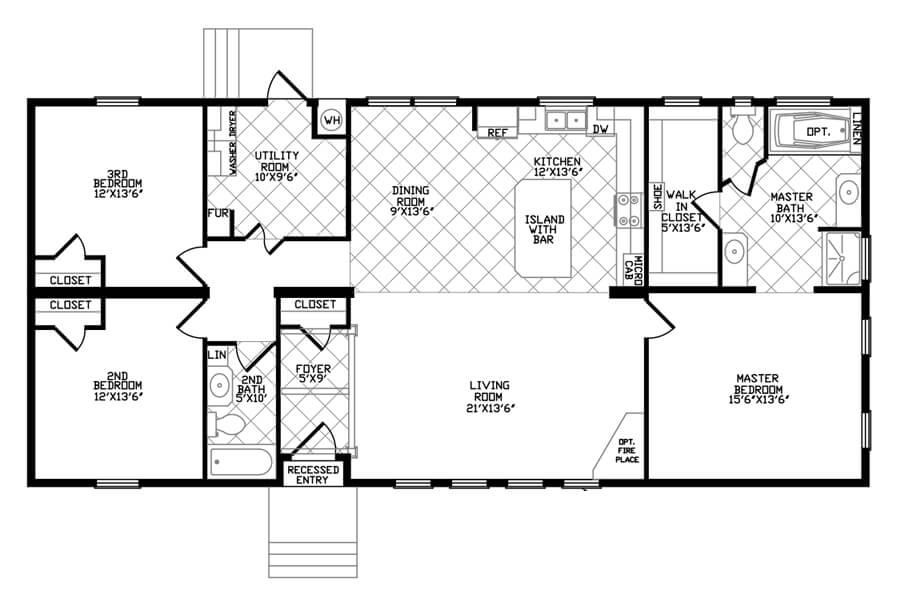 Solitaire Homes Double Wide Floor Plan Model GE 64