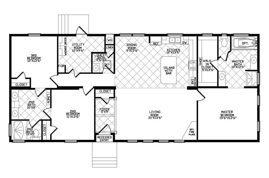 Solitaire Homes Double Wide Floor Plan Model GE 68