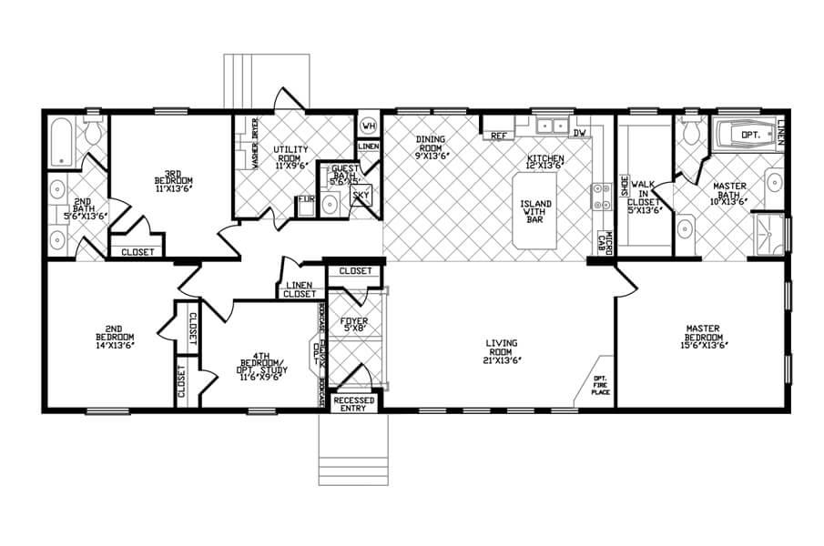 Solitaire Homes Double Wide Floor Plan Model GE 72