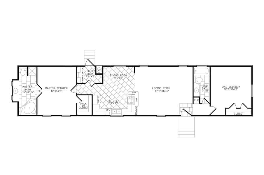 Solitaire Homes Single Wide Floor Plan Model GKU 278