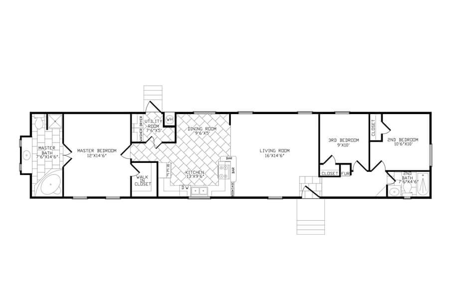 Solitaire Homes Single Wide Floor Plan Model GKU 378