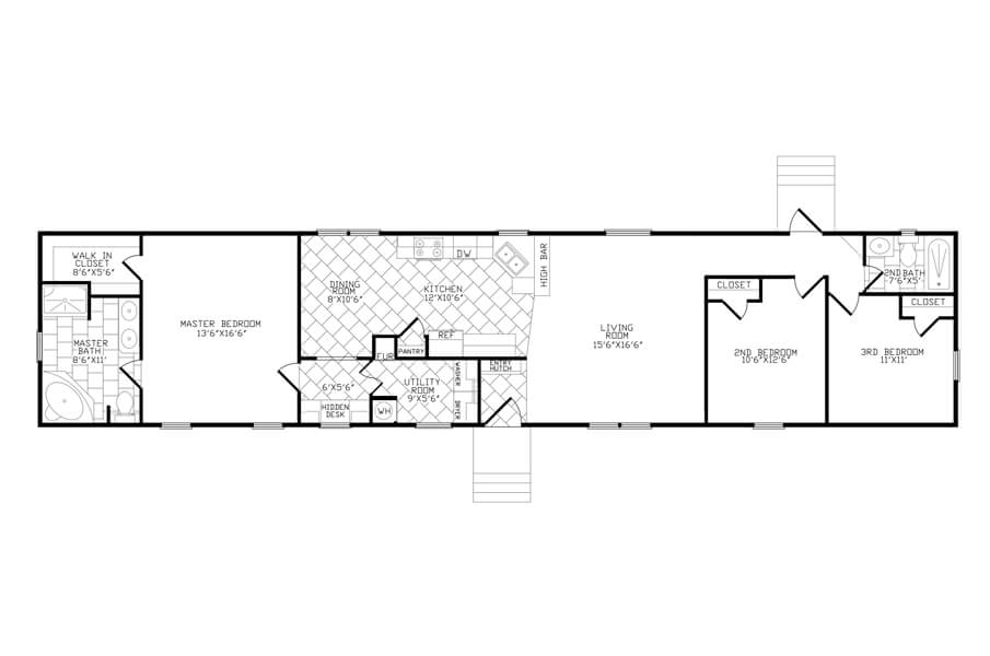 Solitaire Homes Single Wide Floor Plan Model HD 384