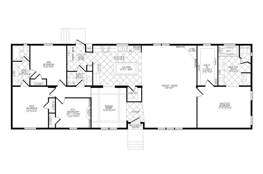 Solitaire Homes Double Wide Floor Plan Model Landmark 4