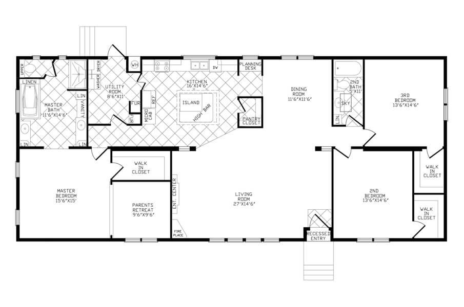 Solitaire Homes Double Wide Floor Plan Model PRT 3
