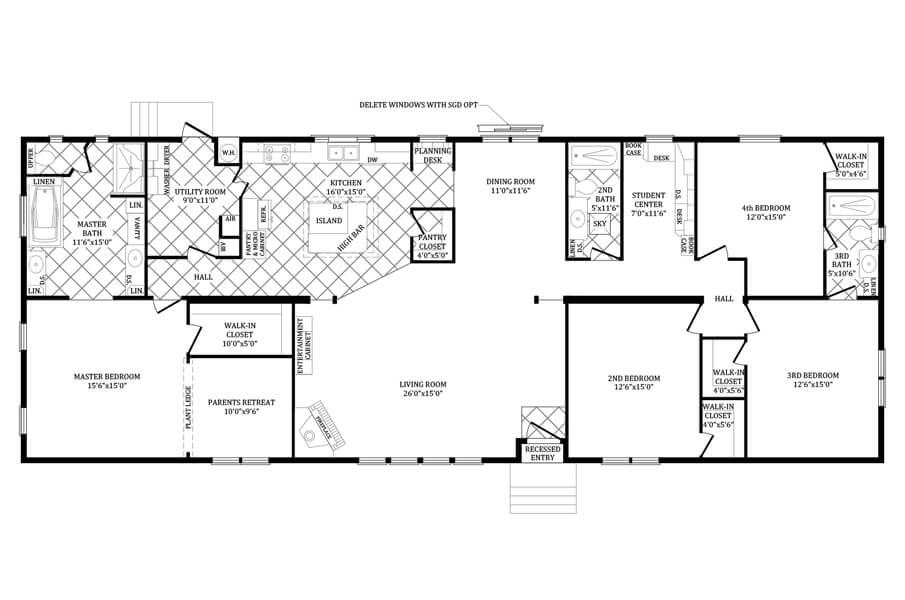 Solitaire Homes Double Wide Floor Plan Model PRT 4