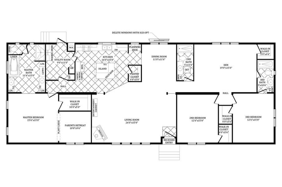 Solitaire Homes Double Wide Floor Plan Model PRT 4A