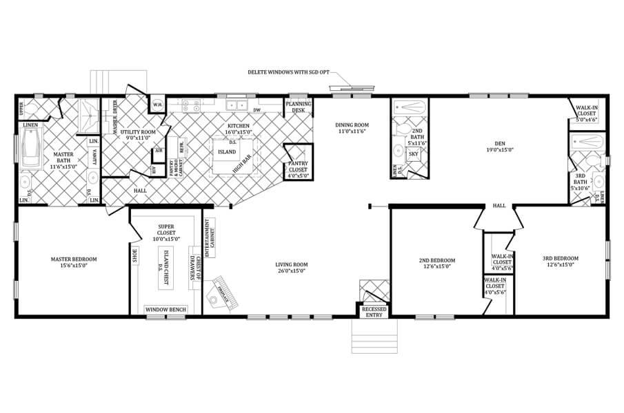 Solitaire Homes Double Wide Floor Plan Model PRT 4ASC