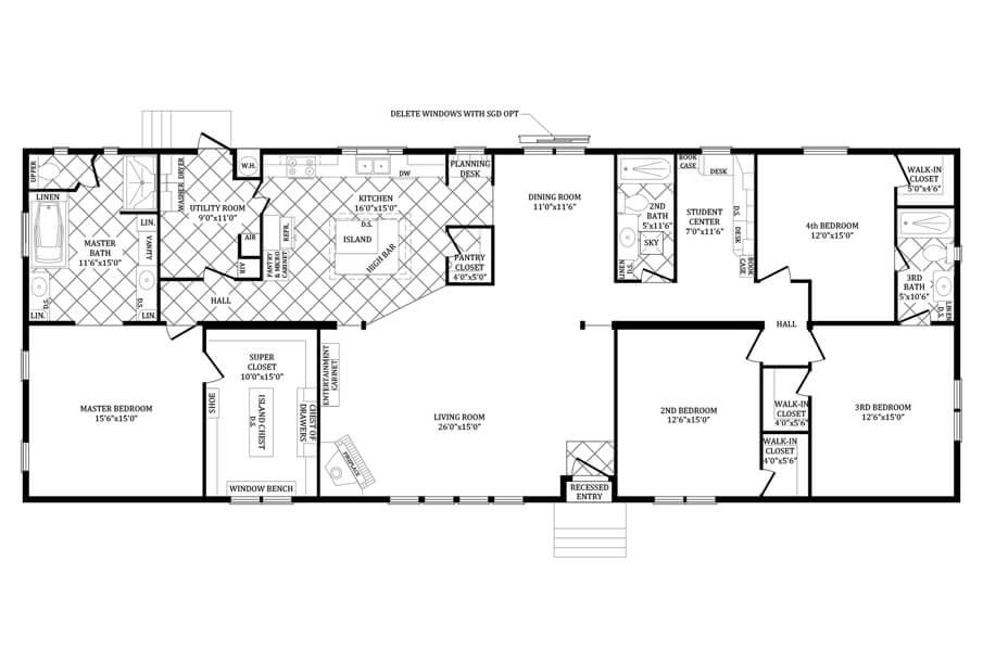 Solitaire Homes Double Wide Floor Plan Model PRT 4SC